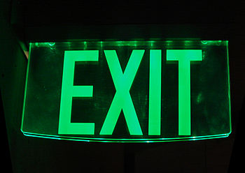 Glass exit sign at LA Cathedral